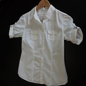 AMERICAN EAGLE off white short sleeve button down